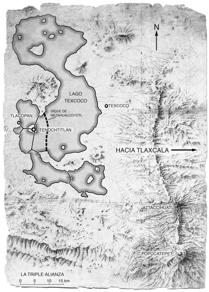 Mapa del lago Texcoco